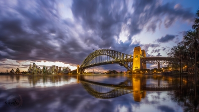 Storm clouds over sydney harbour bridge