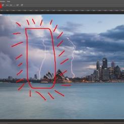 สังเกตุวงกลมแดง และเปลี่ยนขนาดของพู่กันไห้เล็กลง เพื่อง่ายต่อการระบาย