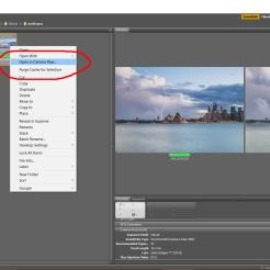 ทำเมาส์ไห้เลือกรูปทั้งสอง เพื่อที่จะนำเปิดใน Camera Raw เพื่อจะทำการทำสีและโทนของภาพไห้เท่ากัน